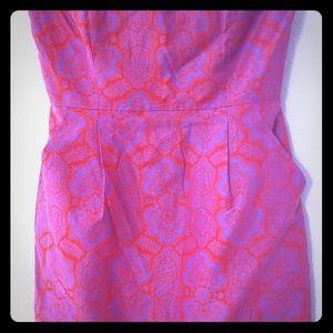 Sleeveless boned dress with pockets retro pattern